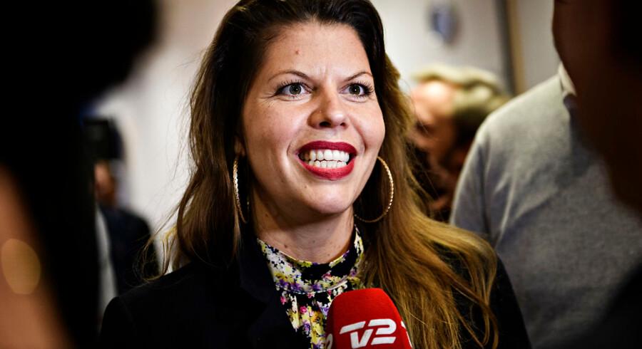 Franciska Rosenkilde taler med pressen, efter at Alternativet i København har valgt hende som kulturborgmester, på Kulturstationen i Vanløse søndag den 28. oktober 2018.