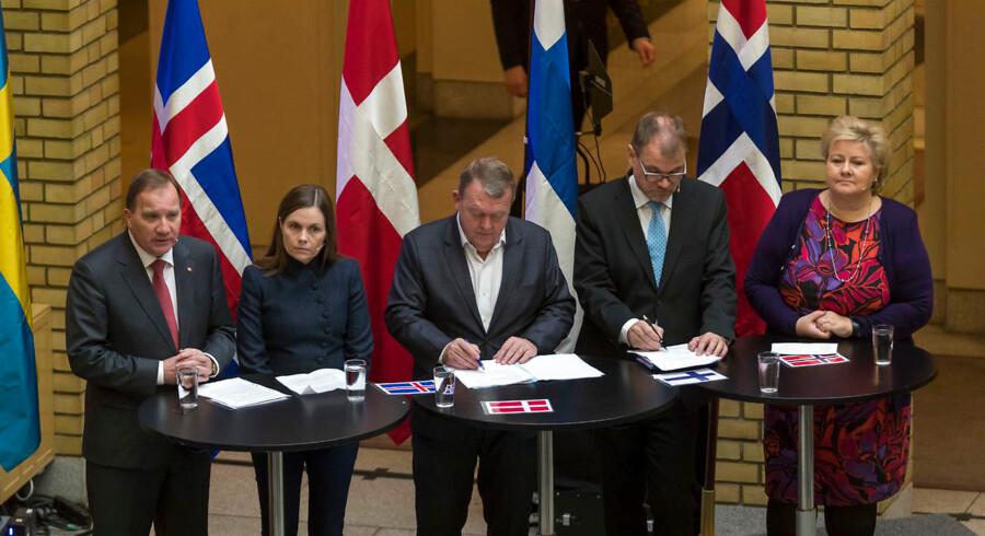 De nordiske regeringsledere står sammen i fordømmelsen af Irans planer om et attentat på dansk jord. Det fremgik af et pressemøde i Oslo i forbindelse med Nordisk Råds 70. session. - Foto: Junge, Heiko/Ritzau Scanpix