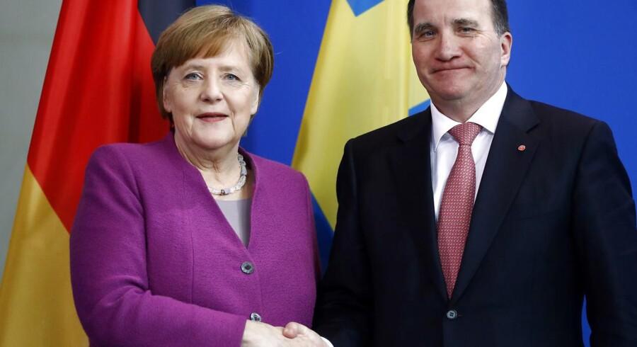 Den svenske statsminsiter Stefan Löfven var på besøg i Berlin i marts i år. Nu er både han og kansler Angela Merkel måske på vej ud.