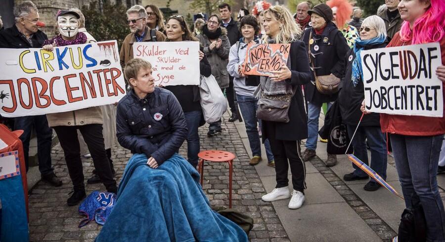 Demonstration ved Jobcenter Baldersgade på Nørrebro i København arrangeret af Næstehjælperne og Jobcentrets Ofre.