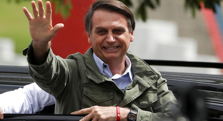 Jair Bolsonaro, Brasiliens kommende præsident, har alt for mange gange talt varmt om tortur, drab og diktatur til, at man bare kan trække på skuldrene af det. Foto: Ritzau / Scanpix / Reuters / Pilar Olivares