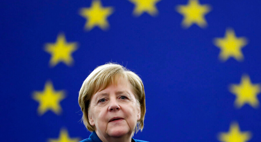 German Chancellor Angela Merkel arrives to debate the future of Europe with the members of the European Parliament, in Strasbourg, eastern France, Tuesday, Nov.13, 2018. (AP Photo/Jean-Francois Badias)