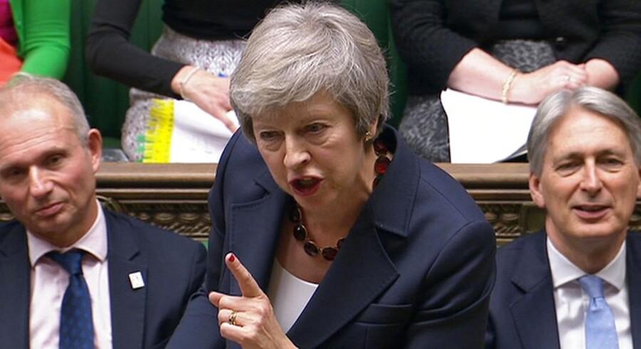 Den britiske premierminister, Theresa May, under en debat om Brexit-aftalen i det britiske parlament 14. november 2018.