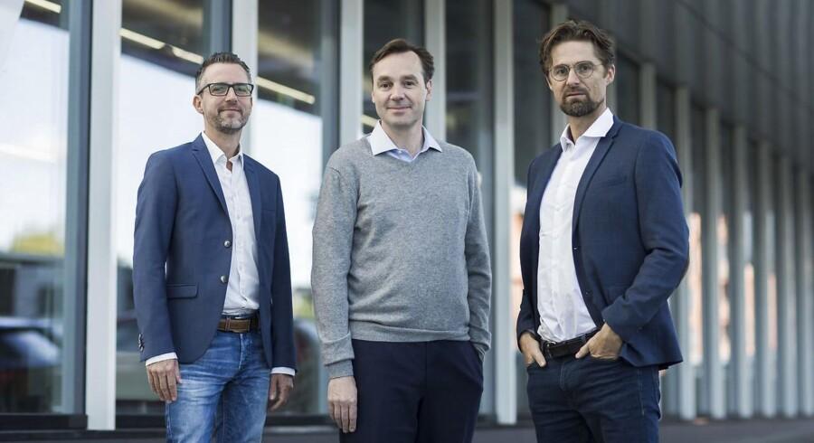 Adform blev stiftet i 2002 af Stefan Juricic (tv.), Jakob Toftgaard Bak (mf.) og Gustav Mellentin (th.) som kendte hinanden fra DTU.