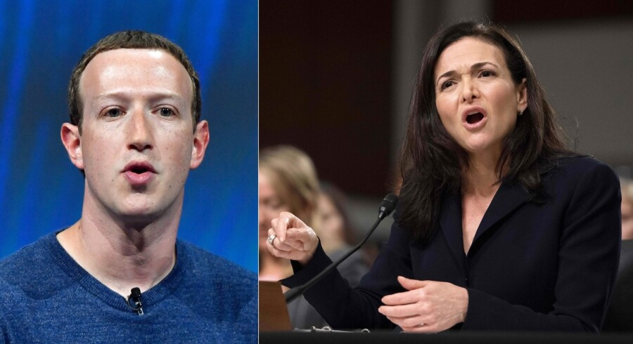 Kriserne i Facebook slider på forholdet mellem de to topledere, Mark Zuckerberg (til venstre), som stiftede Facebook og er topchef, og Sheryl Sandberg, som i ti år har kørt parløb med Zuckerberg som operativ chef. Arkivfotos: Jim Watson, AFP/Scanpix og Gerard Julien, AFP/Scanpix