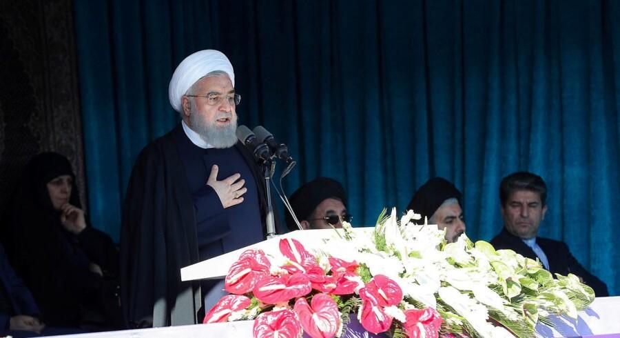 Irans præsident, Hassan Rouhani, giver en offentlig tale i Khoy i den vestlige del af Iran den 19. november 2018.