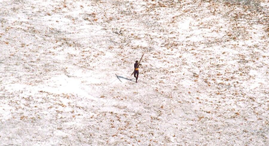 En sentineleser truer en helikopter med bue og pil i forbindelse med, at den indiske kystvagt overflyver North Sentinel et år efter tsunamien i 2004.