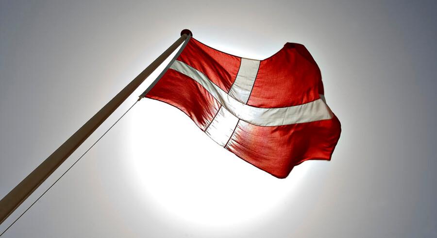 SOLREKORD. Antallet af solskinstimer i maj måned 2008 har sat rekord i nyere tid. her sol og det danske flag.