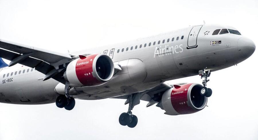 Scandinavian Airlines Systems fly i Københavns Lufthavn i København, mandag den 29. januar 2018. SAS leverede et fint regnskab for 2018. Men regningen for brændstof vokser til næste år. Det skriver Ritzau, tirsdag den 4. december 2018.. (Foto: Mads Claus Rasmussen/Ritzau Scanpix)