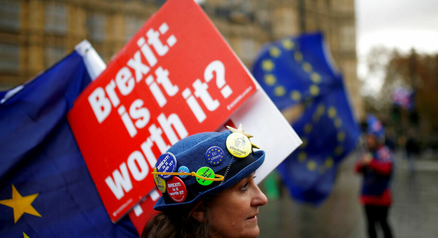 Anti-Brexit demonstranter uden for parlamentsbygningen i London. Arkivfoto: REUTERS/Henry Nicholls/File Photo