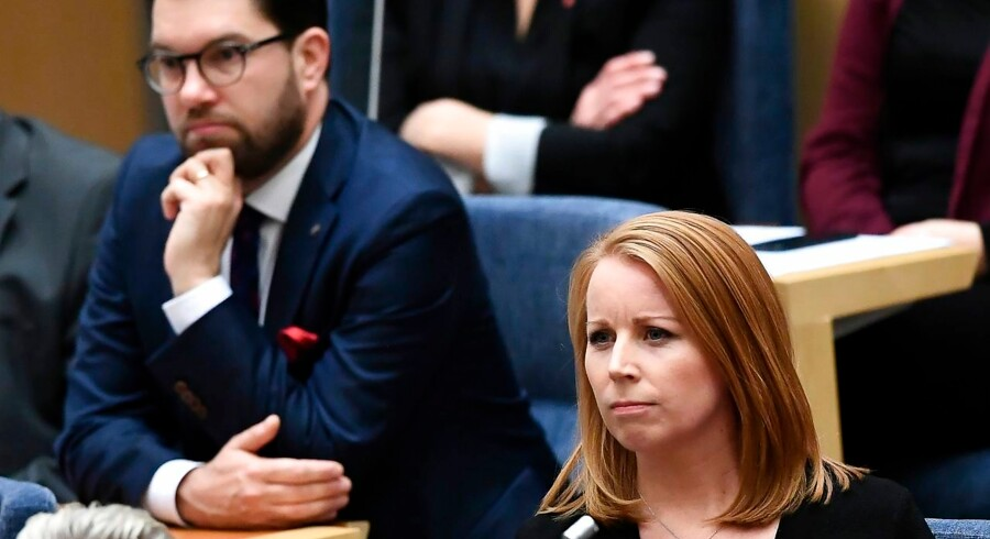 Sverigedemokraternas Jimmie Åkesson og Centerpartiets Annie Lööf er hovedpersoner i den politiske krise i Sverige, hvor der nu er gået 87 dage siden valget, uden at der er blevet udpeget en ny regering.
