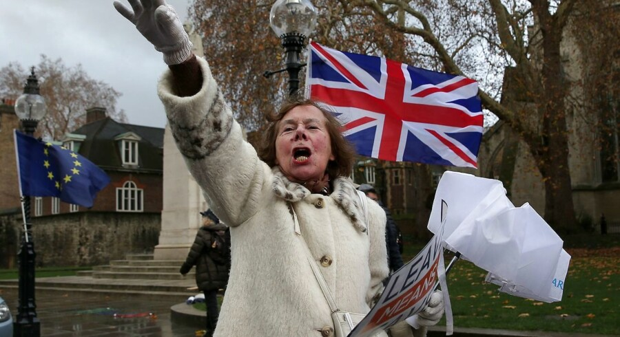 En anti-EU, proBrexit-demonstrant fra kampagnegruppen »Leave Means Leave« protesterer foran Houses of Parliament i London, hvor Theresa May tirsdag aften led store nederlag.
