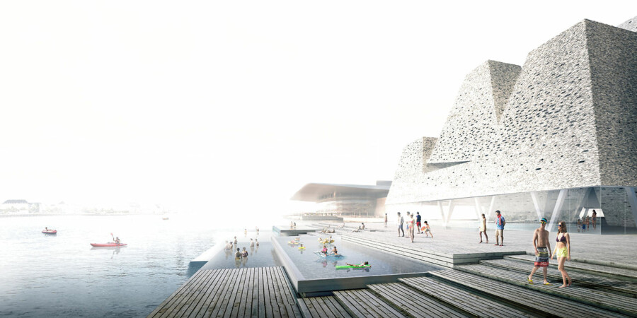 Arkitekten Kengo Kumas har tegnet et kulturcenter i Asakusa, Tokyo, som er bygget i træ. Kengo Kumas har også tegnet den ny svømmehal på Papirøen, der dog ikke bliver i træ. Illustration af den ny svømmehal.