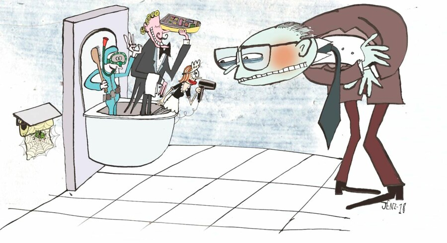 Hvordan er det at få en omgang vask og føn på et såkaldt »douche-toilet«? Tegning Jenz Koudal.