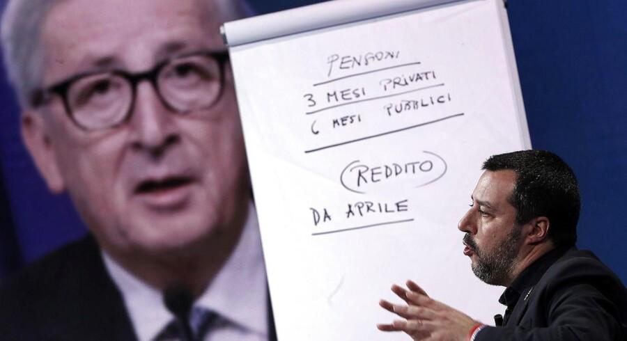 Italiens vicepremierminister Matteo Salvini fra det højrenationalistiske parti Lega Nord ønsker et ekspansivt italiensk budget for 2019, men støder på modstand i EU, som har afvist bugetplanen og truet med sanktioner. Foto: Roccardo Antimiani/EPA/Rtizau Scanpix