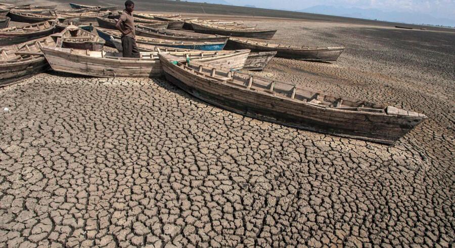 Klimastøtte fra rige lande skal blandt andet gå til at hjælpe fattige lande med at tilpasse sig klimaforandringer, der ifølge videnskaben fører til mere ekstremt vejr. På billedet ses et tørkeramt Malawi. (Arkivfoto) Amos Gumulira/Ritzau Scanpix