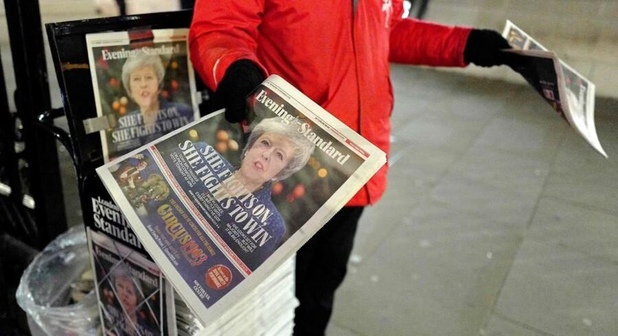 London Evening Standard med en profetisk forside inden gruppemødet: Theresa May kæmper - og hun kæmper for at vinde.