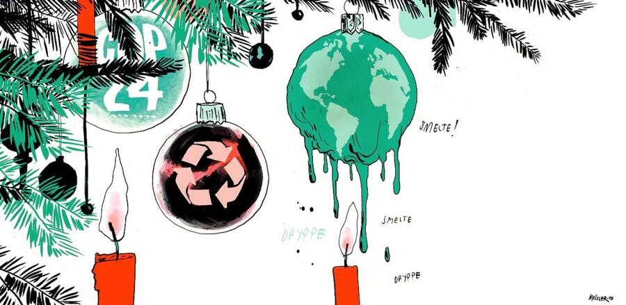 »Når regeringen nu ikke vil, er det fint, hvis vi andre skeler til klimaet, også når vi nu lige om lidt skal i gang med det store julegaveræs,« skriver Preben Mejer. Tegning: Rasmus Meisler