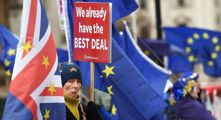 De står der dag efter dag foran det britiske parlament – demonstranter imod EU og (på billedet) demonstranter for EU. Regeringens strategi er nu, at de skal gøres bange og tvinges til at forlade deres kompromisløse holdninger.
