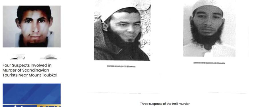 Billedefterlysning af de tre mænd mistænkt for drab på norske Maren Ueland og danske Louisa Vestager Jespersen.