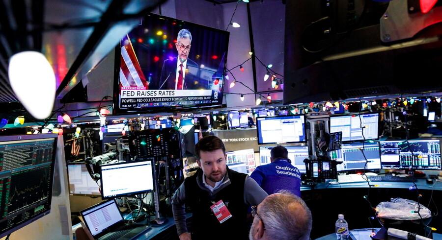 Aktiemarkederne har ikke taget godt imod de seneste udmeldinger fra Fed-chef Jerome Powell. Foto: EPA/Justin Lane/Ritzau Scanpix
