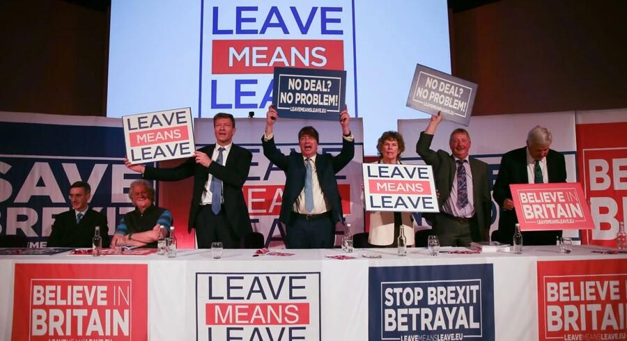 Brexit er et af de helt store temaer næste år, og alt kan ske inden Storbritannien - efter planen - forlader EU i marts. Foto: AFP/Daniel Leal-Olivas/Ritzau Scanpix