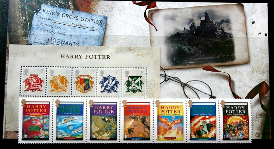 epa01068944 Harry Potter stamps are pictured here in London. Britain's Royal Mail released the new Harry Potter stamp pack across Britain, 17 July 2007. The new and final Harry Potter novel will be released 21 July. EPA/ANDY RAIN