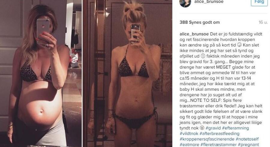 »Spis flere træstammer eller drik fløde!! Jeg kan helt sikkert godt lide følelsen af at være slank og fit og glæder mig til at hoppe i mine jeans igen, men det her er alligevel liiiige tyndt nok,« skriver Alice Brunsø om billedet på hendes Instagram-profil.
