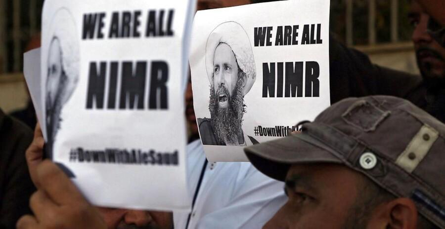 Pakistanske shiiter protesterer mod henrettelsen af Nimr al-Nimr.