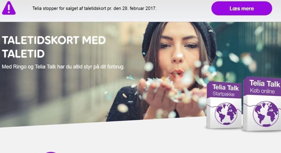 Det er slut med taletidskort fra Telia ved udgangen af februar. Foto: Telia