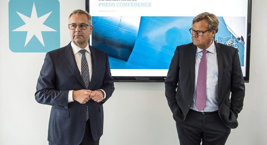 Mærsk Group CEO, Søren Skou (tv), bestyrelsesformand Michael Pram Rasmussen.