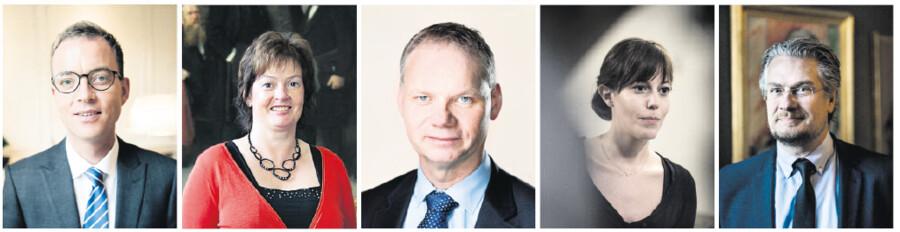 Fra venstre uddannelses- og forskningsminister Esben Lunde Larsen (V) og derefter Anni Matthiesen (V), Jens Henrik Thulesen Dahl (DF), Mai Mercado (K) og Henrik Dahl (LA), alle uddannelses- og forskningsordførere. Foto: Scanpix