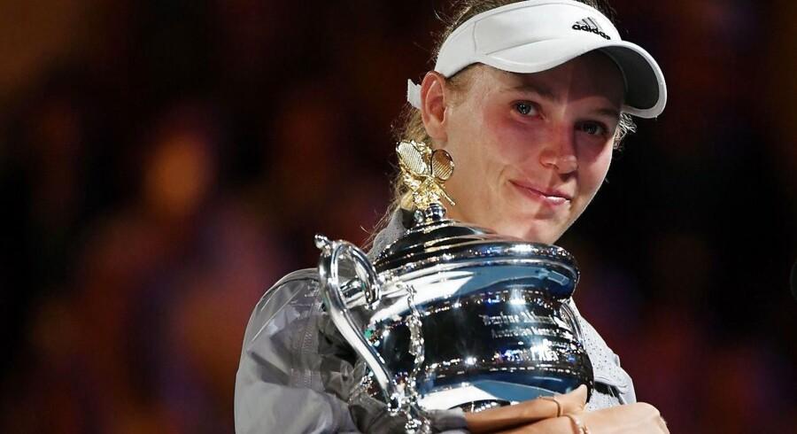 Sejren fik ikke overraskende de store følelser frem hos Wozniacki, da hun efterfølgende holdt sin takketale midt på banen.