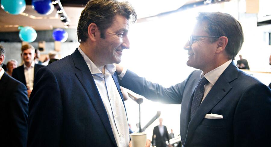 Administrerende direktør og medstifter af Netcompany André Rogaczewski og Erhvervsminister Brian Mikkelsen (K), før Netcompany børsnoteres og handlen skydes i gang ved et arrangement i DR Byen i København, torsdag den 7. juni 2018. Foto Ritzau Scanpix/Philip Davali