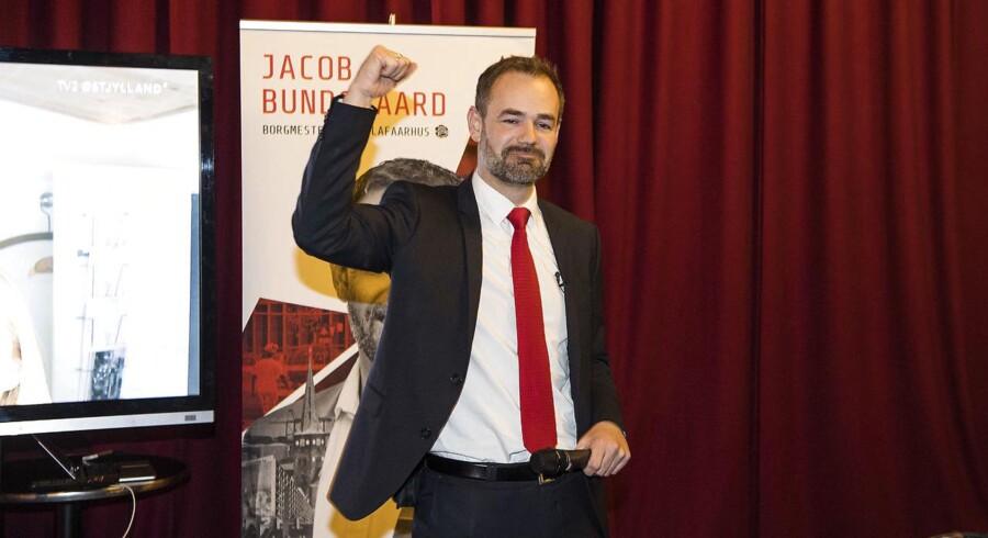 Borgmester Jacob Bundsgaard (S) taler til Socialdemokraternes valgfest på Centralværkstedet i Aarhus.