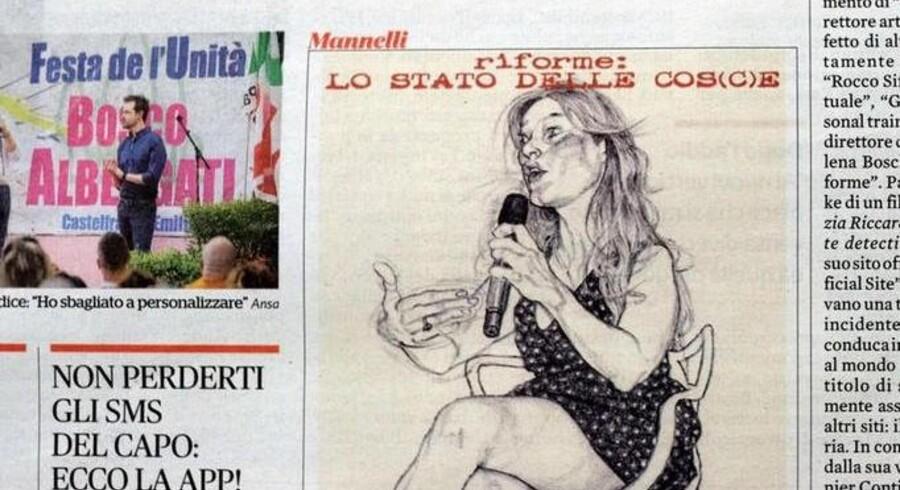 Tegningen af Maria Elena Boschi med bare ben har bragt italienske sind i kog. Foto: Alessandro di Meo/Ansa