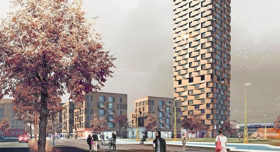 Højhusene er endnu et sjældent syn på Nørrebro i København - men de er på vej.