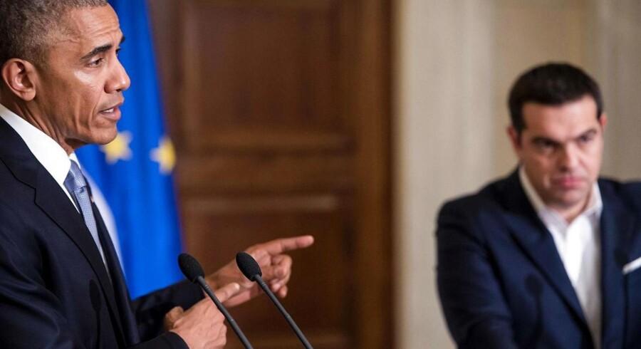 Præsident Barack Obama sammen med den græske premierminister Alexis Tsipras i Athen.