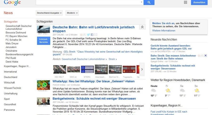 Google News kan nu igen tage nyhederne fra nogle af Tysklands store aviser med i sin søgetjeneste.