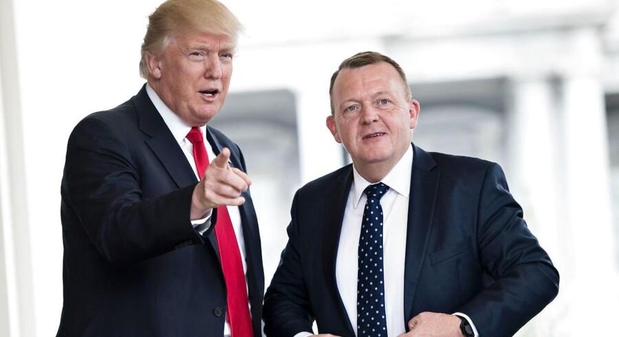 Donald Trump og Lars Løkke Rasmussen før deres møde i Det Hvide Hus