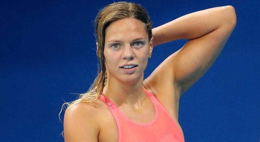 Yulia Efimova før de indledende heats i 100 meter brystsvømning ved OL i Rio.