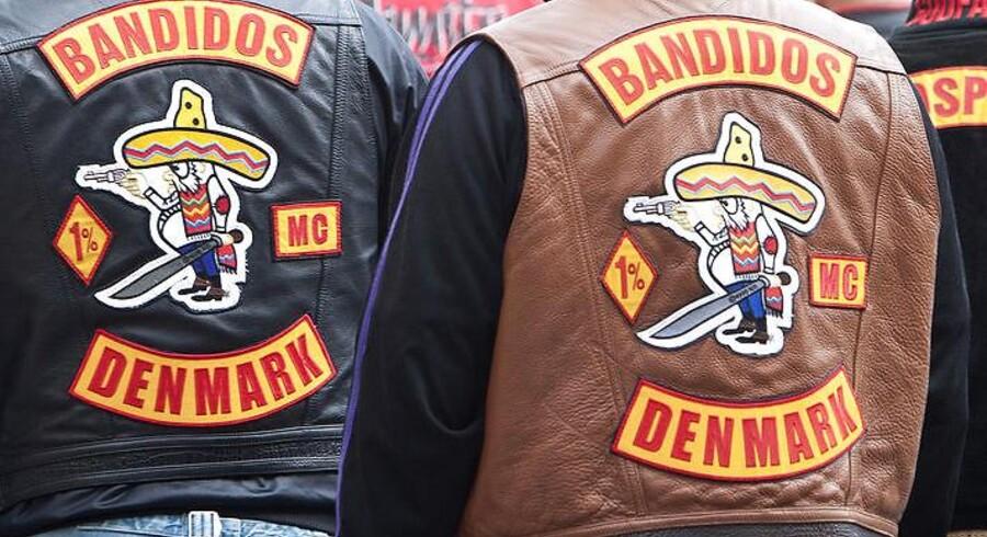 Rocker retssag i byretten i København. Bandidos rockere udenfor retten.