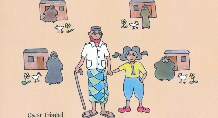 Omslaget af den nye svensk børnebog »Farfar har fyra fruar«.