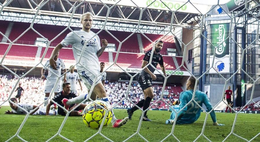 Lørdag d. 15. juli 2017. Fodbold. Alka Superliga i Telia Parken. FC København vs. AaB. Jakob Blåbjerg, AaB, udligner til 1-1. (Foto: Anders Kjærbye/Scanpix 2017)