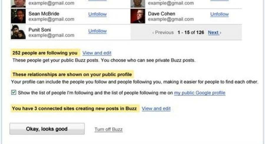På Googles svar på Facebook og Twitter, Buzz, skal man nu selv afgøre, hvem man ønsker at dele oplysninger med.
