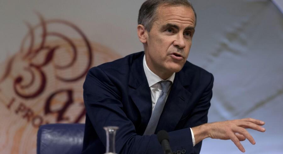 Mark Carney, chef for den britiske centralbank, Bank of England, på pressemødet torsdag, hvor banken nedjusterede sine forventninger til væksten i britisk økonomi. (Foto: Justin Tallis/Reuters)