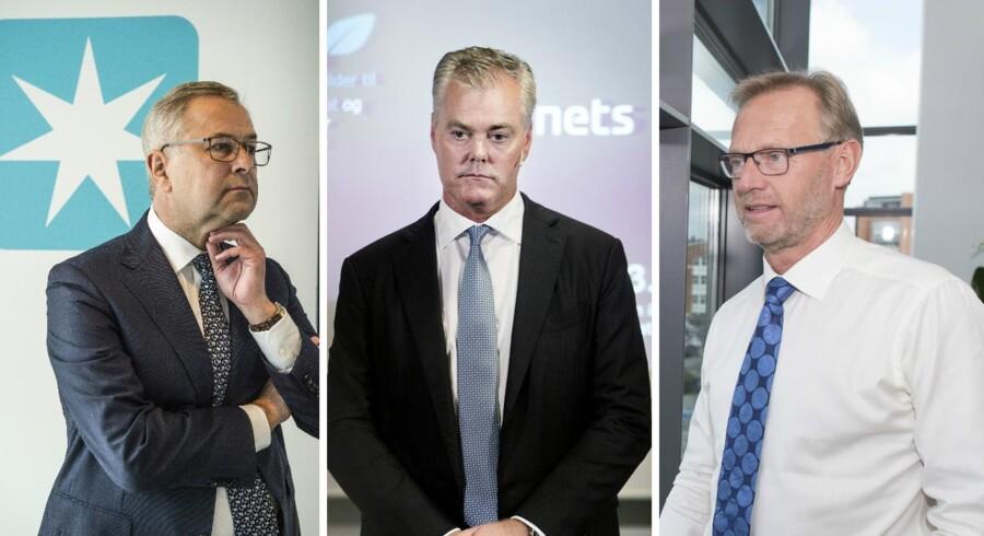 Fra venstre: Mærsks adm. direktør, Søren Skou, Nets' adm. direktør, Bo Nilsson, og Jyske Banks adm. direktør, Anders Dam.