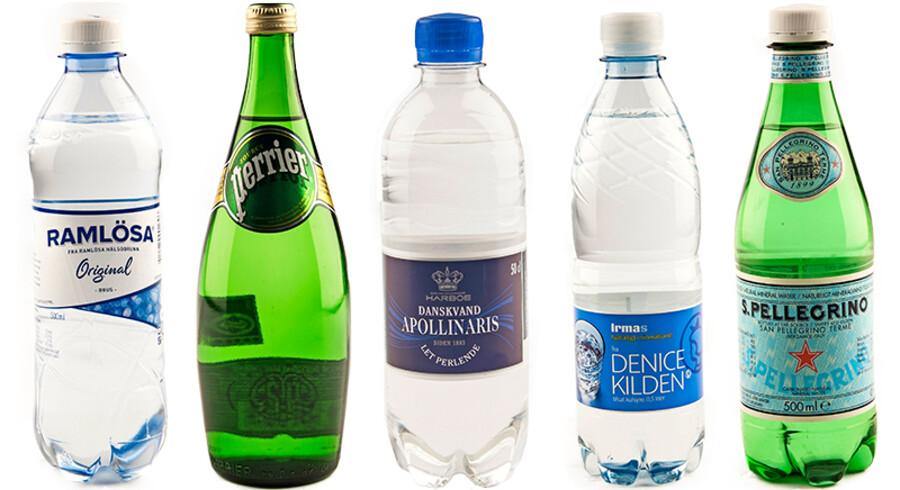 De fem gange dansk vand, som bliver testet i denne uge.