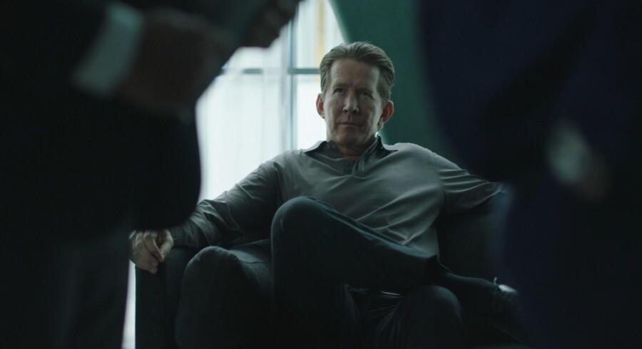 Thomas Bo Larsen som kriminel boss i »Advokaten«. Foto: Gaute Gunnari.
