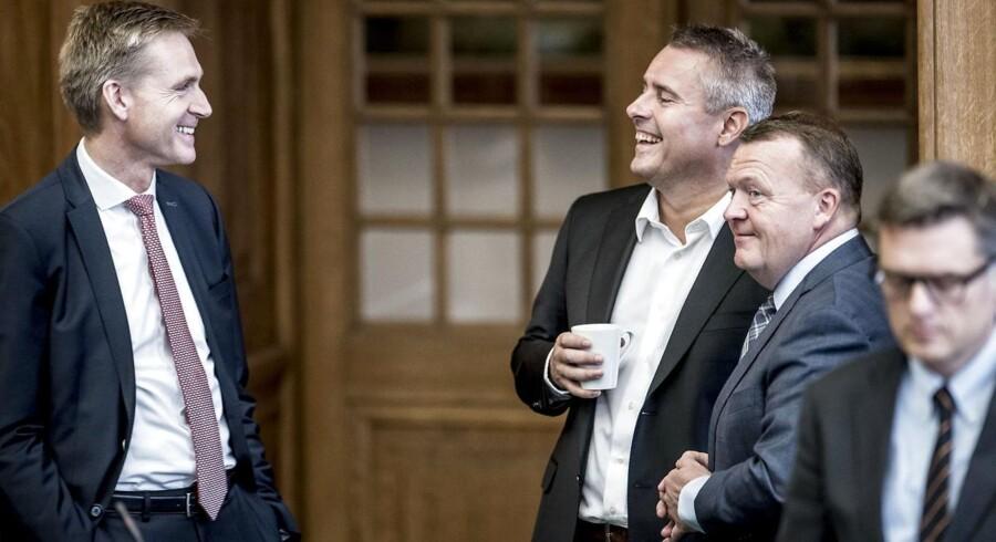 Kristian Thulesen Dahl (DF), Henrik Sass Larsen (S) og statsminister Lars Løkke Rasmussen (V) under folketingets åbningsdebat.